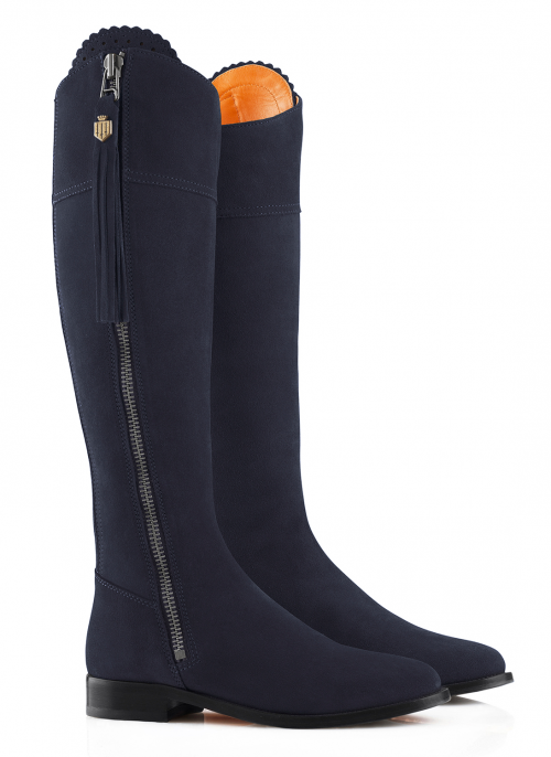 fairfax-and-favor-regina-navy-flat-suede-boots