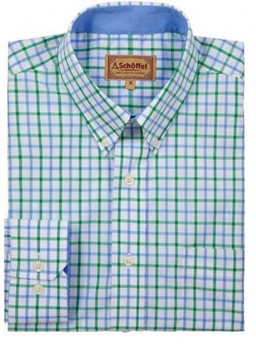 schoffel-holkham-green-check-shirt-mens-bredonhillshooting
