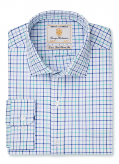 brook-taverner-Neat-check-navy-blue-green-mens-shirt-bredonhillshooting