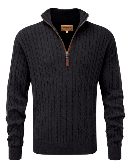 schoffel-cotton-cashmere-zip-charcoal-cable-knit-jumper