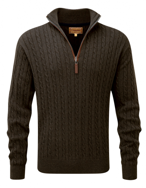 schoffel-cotton-cashmere-zip-loden-cable-knit-jumper