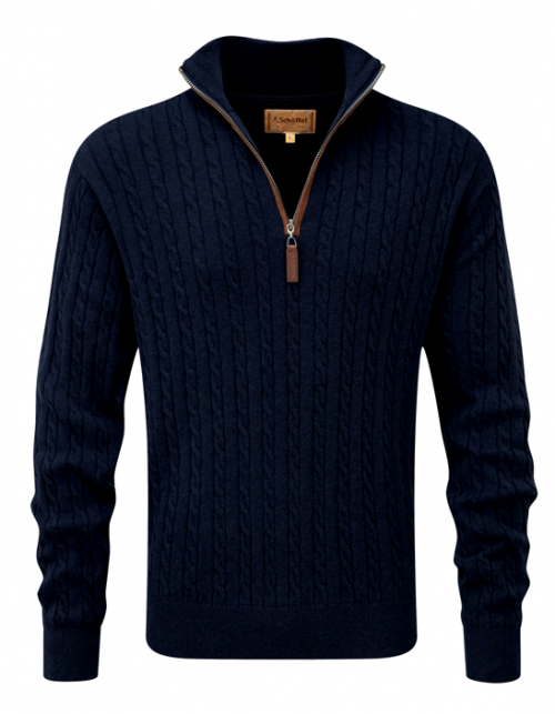 schoffel-cotton-cashmere-zip-navy-cable-knit-jumper