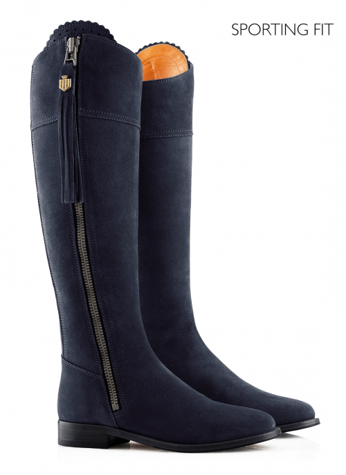 fairfax-and-favor-regina-flat-sporting-fit-navy-suede-boots